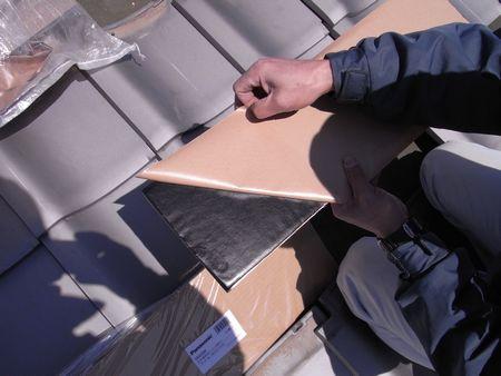 瓦木板に防水シール